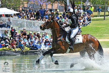 """""""Making a splash"""". The New Zealand contingent was in great form today. Diane Gilder is pictured aboard her talented Thoroughbred, 'Your Attorney' that jumped clear in the Mitsubishi CCI5*-L and added just 5.3 time penalties to hold third place heading in to the final jumping phase tomorrow."""