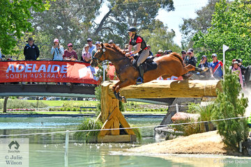 Two time Australian International 3DE winners, Hazel Shannon and 'Willinga Park Clifford' are pictured flying in to the Rymill Lake during their Mitsubishi CCI5*-L cross country run. They went clear jumping and time and head in to the jumping phase tomorrow in first place . The top four horses in the Mitsubishi CCI5*-L are Thoroughbreds.