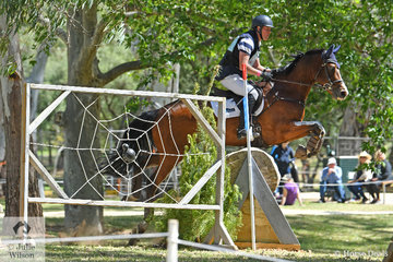 Andrew Cooper from Victoria threads his way around the RM Williams CCI4*-S course riding Beth Collins' 'Riverbreeze'.  They were the only combination in this section to post a clear jumping and clear time cross country run. They moved from seventh to first place.