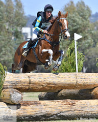 Penny Johnson from Victoria holds eighth place in the RM Williams CCI4*-S riding her, 'BB Boom'.