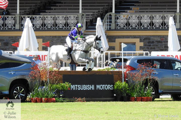 Lauren Browne and her Thoroughbred 'Sky's Da Limit' from WA hold fourth place after a clear jumping Mitsubishi  CCI5*-L cross country run .
