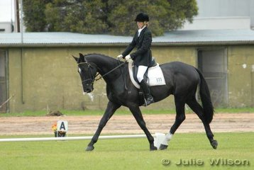 Young rider Team Member, Katja Weimann from Dewhurst in Victoria lies in third place in the Rymill Coonawarra Preliminary competition riding her four-year-old Triathlete gelding, 'BP Winterstern with 49.80.