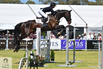 Gemma Tinney produced a super jumping round under pressure riding Karen Tinney and Tim Game's imported Diarado gelding, 'Diabolo' to finish on their dressage score, 29.60 to win the Horseland CCI3*-L.