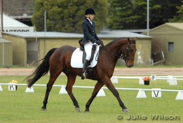 Nicole Falkiner with her 'Beechwood Warlord' during the dressage phase of the Mini Jumbuk Pre Novice competition.