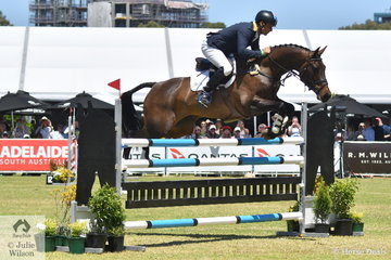 Shane Rose jumped a beautiful clear round riding Angela Shacklady's imported seven year old Casall mare, 'Easy Turn' to take sixth place in the RM Williams CCI4*-S.