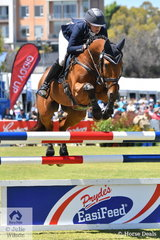 Sophia Landy from Victoria added just four jumping penalties riding her Thoroughbred, 'Humble Glory'  by Bernardini to take fifth place in the RM Williams CCI4*-S and also claim the Racing SA Off The Track award.