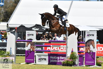 Matthew Gaske from Queensland dropped one place with a rail in the final phase to take third place in the RM Williams CCI4*-S riding his Royal Hit gelding, 'Thymes Too'.