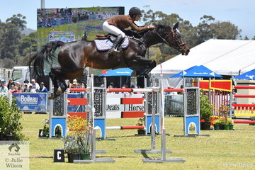 South Australian rider, Briony Temby is pictures aboard Jeff Evans' imported and talented mare, 'Fieldbrook Corinia' during the Atco World Cup Qualifier.