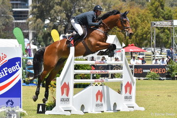 Jamie Kermond took seventh place today in the Atco World Cup class riding, 'Yandoo Oaks Constellation'.