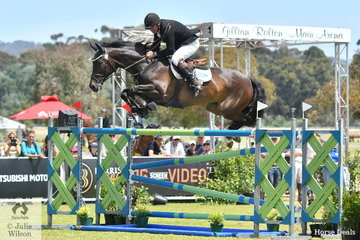 South Australian, Mark Lindh, jumped eight and four around the tough John Vallance track riding his talented, 'Six Pack' to take eighth place in the Atco World Cup Qualifier CSI 1*-W.