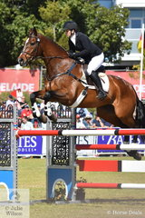 Diane Gilder representing New Zealand took sixth place in the Mitsubishi CCI5*-L riding her  Thoroughbred gelding, 'Your Attorney' by Legal Opinion.