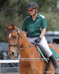 "Annette Waddell rode ""Apollo"" in the Level 4A representing Benalla ARC and her team ""Benalla Gin Stars"""