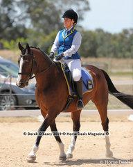 "Renee Paola rode ""Kasperrado DeFeuer"" in the Level 1A representing Wangaratta ARC"