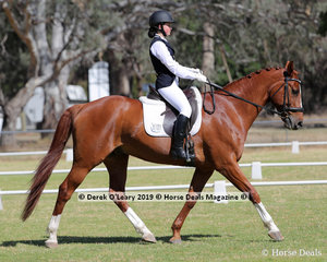 """Alexandra Gibson placed 2nd in the Level 2B riding """"Sedona Red"""" representing Wyronga Park"""