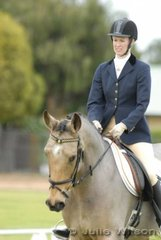 Kirsty Withers and 'Exmoor Truffles' during the dressage phase of the Mini jumbuk Pre Novice class.