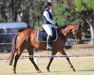 """Winners in the Level 3F, Cristy Wright riding """"SHS Elegance"""" representing Mt Duneed ARC"""