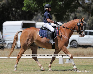 """Felicity Boughton rode """"Crackerjack"""" in the Level 3F placing 4th representing her team """"We're Here For The Wines"""" from Albury Wodonga"""