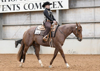Eyes Open I'm Lopin ridden by Blayze Williams in the Amateur Horsemanship Class