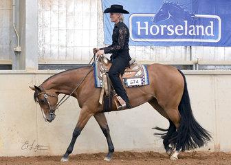 DP Graceline, ridden by Kristy Mobberley in the 3 Year Old Western Pleasure