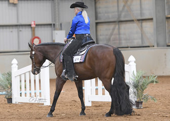 Lana Kelderman riding Beyond Doubt for Lynne Van Dyke, in the Junior Horse Trail Class.