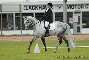 Jane Jones and her eyecatching grey gelding, 'Never Mr Beat' finished the Mini Jumbuk Pre Novice dressage phase in second place with 56.10.