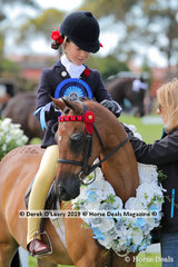 "Champion First Ridden Pony n/e 12.2hh. Rider under 12 years, ""Harrington Park Symphony"" ridden by Annabelle Richardson"
