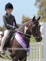 "Reserve Champion Child's Show Hunter Galloway, over 14hh & n/e 15hh. Rider under 17 years, ""Woodchase Charlie Brown"" ridden by Sabrina Rose Gilmour and exhibited by Courtney McLeod"