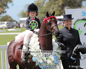 """Champion Leading Rein Pony, n/e 12hh. Rider 3 years & under 8 years, """"Andhara All Miracles"""" ridden by Milla Romeo, exhibited by Christy Pollock"""