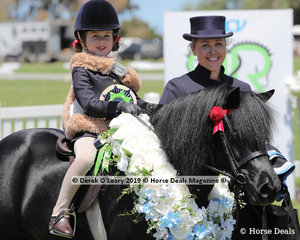 "Champion Leading Rein Shetland Pony, n/e 10.2hh. Rider 3 years & under 8 years, ""Colvadale Odin"" ridden by Milla Romeo and exhibited by the Bellman Horsepole Famlilies"