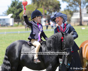 """The giant Chuppa Chups were a big hit, pictured """"Dunavon James The First"""" ridden by Hudson Foord and exhibited by Lillie Foord"""