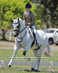 """Valerius Waltermeyer"" ridden by Felicity Sutherland in the Child's Show Hunter Hack, over 15hh. Rider under 17 years."