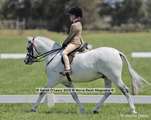 "Reserve Champion  Rider 6 years & under 9 years, Eliza Abrahams riding ""Arcadian Enforcer"""