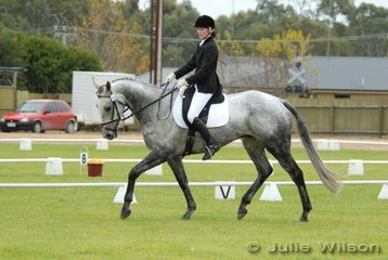 Kate Cranage with her 'Devaux' diring the dressage phase of the Mini Jumbuk Pre Novice competition.