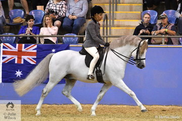 Karen Thomsen rode her , 'Glenmore Welshman' (Cherrington Mozart/Pendaith Winsome) to claim the Runner Up award in the Section A Mare, Gelding, Stallion Championship.