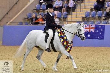 The Howe Family's 'Cherrington Skylark' (Bamborough Ambassador/Glenmore Songbird) ridden by Molly Farran claimed the Australian Supreme Ridden Welsh Pony sponsored by Mossman Park Stud.