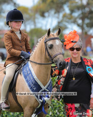 """Champion Debutante Saddle Show Hunter Small Pony, 12.2hh & under, """"Thorwood King's Gold"""" ridden and exhibited by.Grace Baines"""