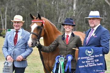 Caroline Parker led Rosemary Parker's, 'Cheraton Caesar' (C True Blue/C. Royal Symphony) to claim the Champion Part Welsh Over 13.2hh award. Caroline is pictured with international Judges, L-R Ad Beekman NL. and Kevin Walker UK.
