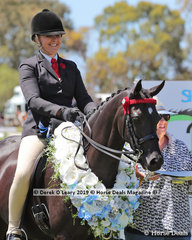 """Champion Open Large Pony, """"Wideacre Black Diamond"""" ridden and exhibited by Lynda Hayes"""