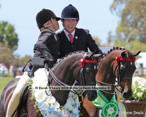 """Reserve Champion Daniel McNamara onboard """"Swanreach Anthem""""gets a kiss from Lynda Hayes in the Large Pony, over 12.2hh & n/e 14hh."""