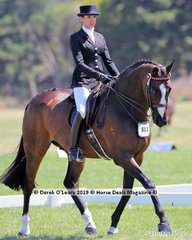 """""""Stage Presence"""" ridden and exhibited by Rebecca Farrow, placed Top Ten in the Large Hack, over 16hh"""