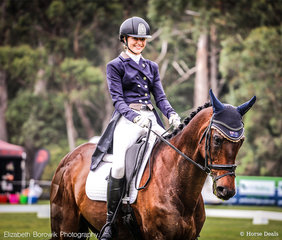 "Hannah Klep and Reprieve ""all smiles"" on their way to a super 6th Place with 66.93% in the dressage phase of the OTTO SPORT AUSTRALIA CCI3*-L."