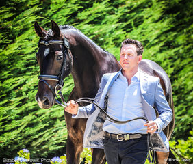 Jim Walshe and Montebelle looking dapper at the Dapple Eq - Trot Up on Thursday afternoon.