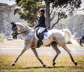 Tea Worrad and Pluto Mio strutting along to 6th Place (67.63%) in the Saddleworld Bowral EvA95 JNR class.