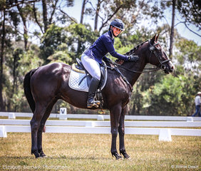 Susanne Jahnel  pleased to reach the end of an exuberant dressage test aboard Wicked Style in the Saddleworld Bowral EvA95 class.