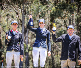 Carlene Barton, Lily Wickenden and Craig Barrett toast to an amazing event at the Wallaby Hill International 3DE in the PRYDE'S EASIFEED CCI2*-L.
