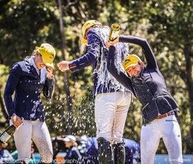 Amanda Ross douses OTTO SPORT AUSTRALIA CCI3*-L class winner Stuart Tinney with champagne -  what a way to end a fabulous weekend!