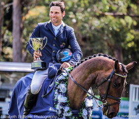 Shane Rose smiles proudly as he takes home the win in the BUCAS CCI4*-L class.