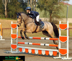 Winning the 90cm Open class 6A at the 2019 Sydney Summer Classic with a time of 36.61 seconds in the Jump Off was Charlie Magnier and his Buckskin pony, Master Stevie G.