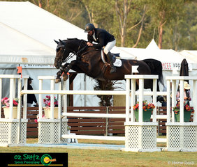 Going for the superhero approach in the Open 1.40m class was Gina MVNZ ridden by Brooke Dobbin.