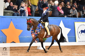 Successful young rider, Annabelle Richardson claimed the Child's Small Pony Championship for Victoria riding  Annique Smith's, 'Braeside Miss Divine' on day one of the 2019 Ego Sun Sense Australasian Show Horse and Rider Championships.
